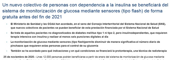 Una noticia equívoca con respecto a los sistemas de monitorización de glucosa mediante sensores tipo flash*
