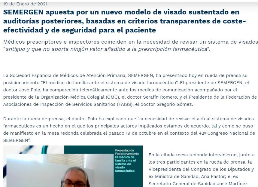 Sobre el Posicionamiento de SEMERGEN ante el sistema de visado farmacéutico